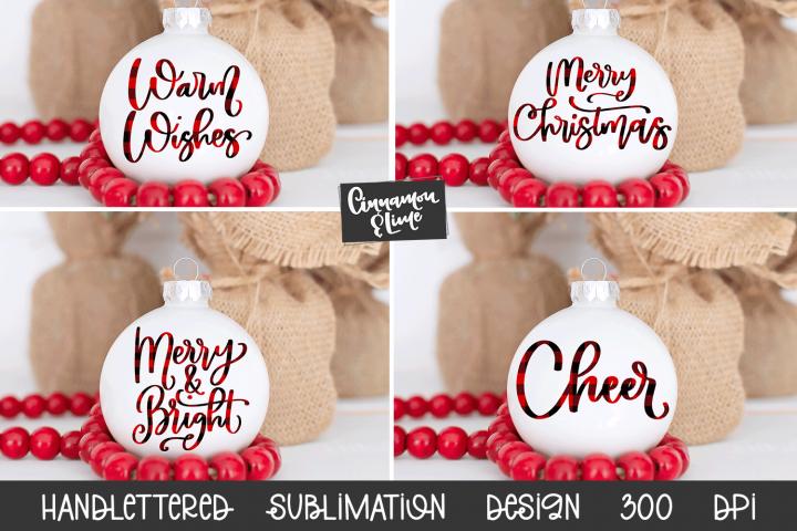 Christmas Ornament Sublimation Design Bundle Handlettered