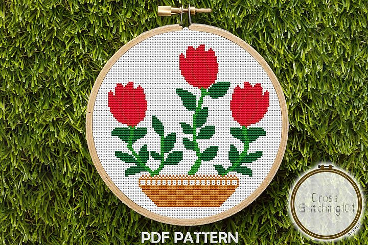 Rose Flower Pot Cross Stitch Pattern - Instant Download PDF