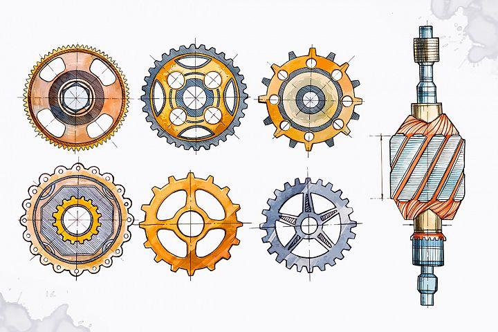 Watercolor Gears example image 2