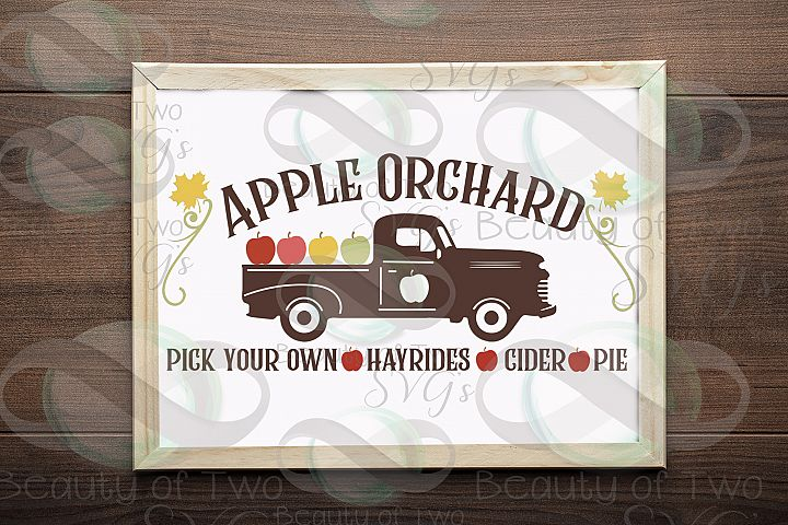 Vintage Truck Apple Orchard svg, Fall apples svg, Farmhouse