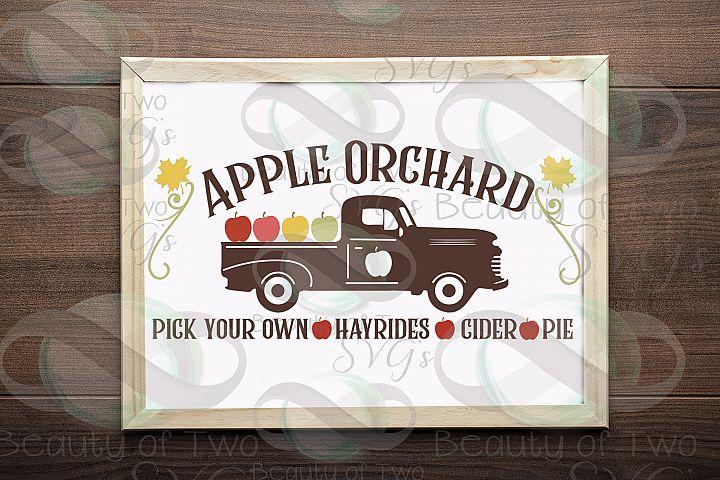 Vintage Truck Apple Orchard svg, Fall apples svg, Farmhouse