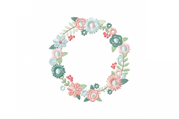 Spring Floral Wreath Frame Monogram Embroidery Design