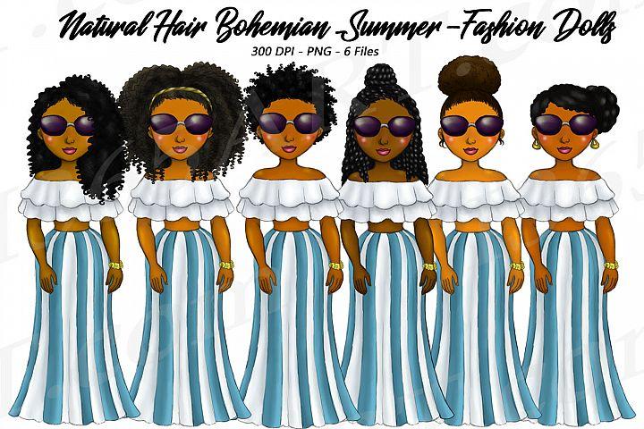 Bohemian Stripes Summer Clipart, Black Girls, Natural Hair