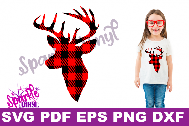 Buffalo Plaid Reindeer Deer Head Silhouette Printable svg cut files for silhouette or cricut