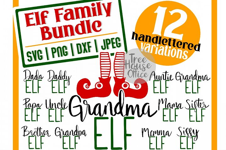 Elf Family Name Bundle Momma Daddy Sister Elf SVG DXF PNG