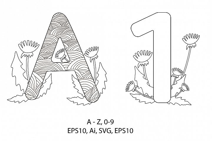 Alphabet. Numbers from 0 to 9. Coloring pages.