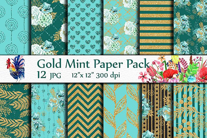 Gold Mint digital papers