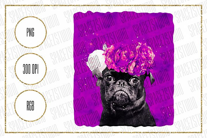 Pug Sublimation Design - Cute Pug Watercolor Digital Design