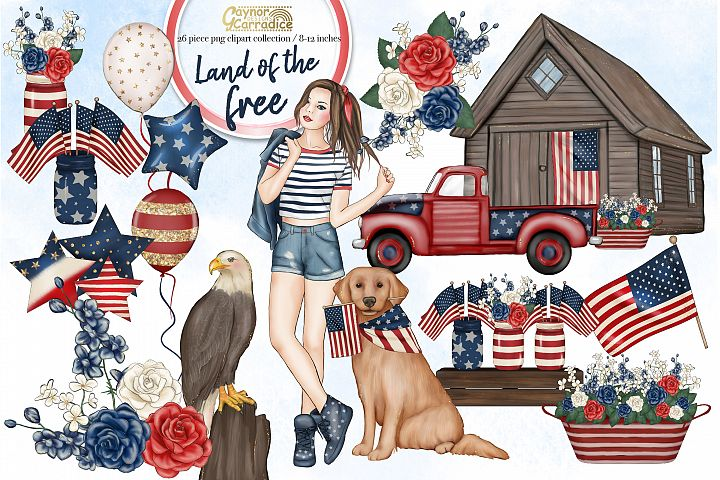 4th of July fashion clipart collection