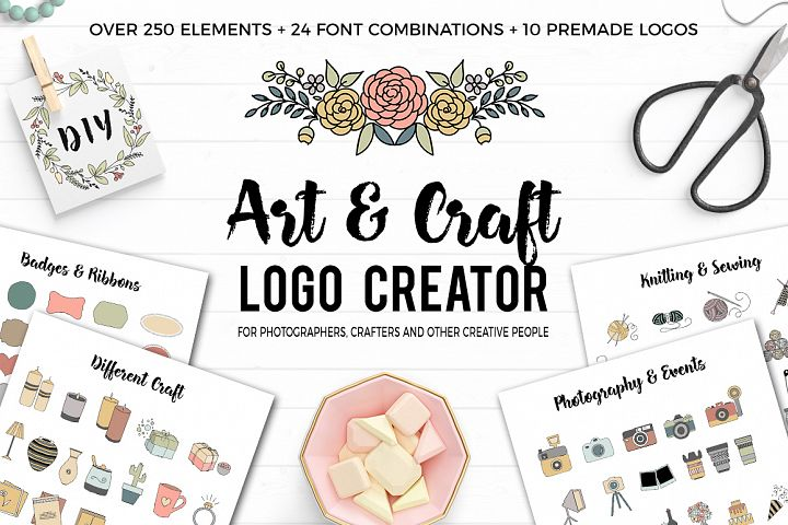 Art and Craft Logo Creator. Over 250 handdrawn elements