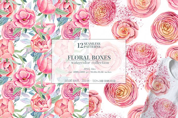 12 seamless patterns, Floral boxes watercolor col. example image 3