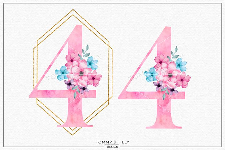 Four Pink Bouquet Birthday Number - Sublimation PNG Clipart