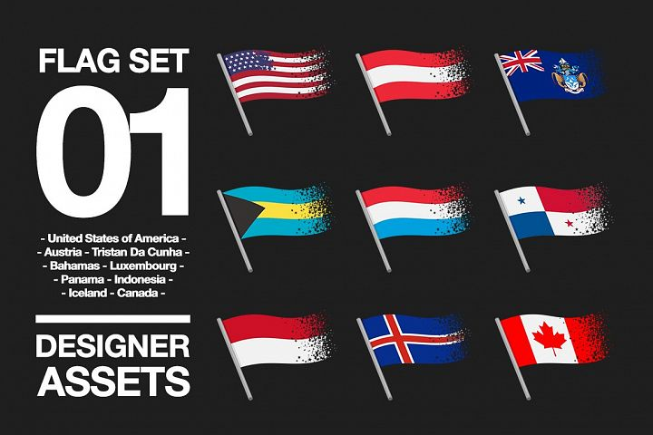 National Flag Vector AI and CDR Sparkle Vol. 1