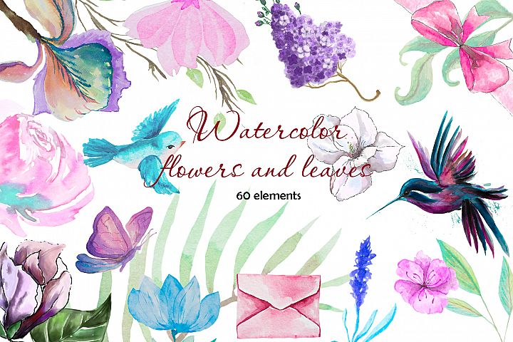 Watercolor flower and leaves Clipart. Summer florals,