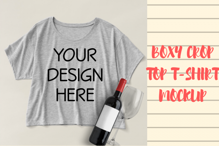 Boxy Crop Top Heather Grey T-shirt Mockup