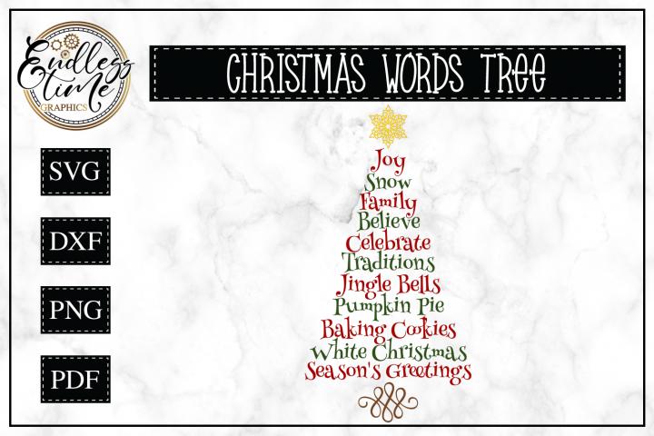 Christmas Tree Word Art SVG