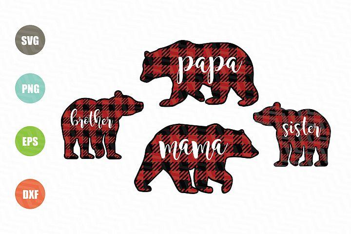 Bear Buffalo Plaid SVG
