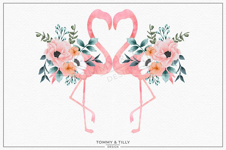 Love Flamingos No.1 Watercolour - Sublimation PNG Clipart