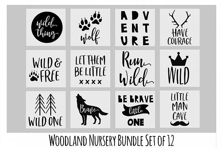Woodland Nursery SVG Bundle, Wolf SVG, Baby Onesie SVG
