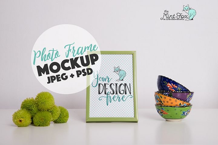 Photo Frame Mockup with Flowers and Cups