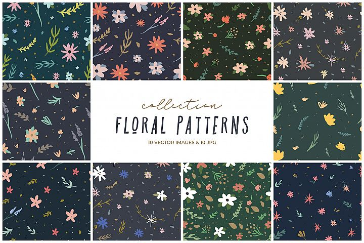 Floral seamless patterns, nursery prints, vector clip art