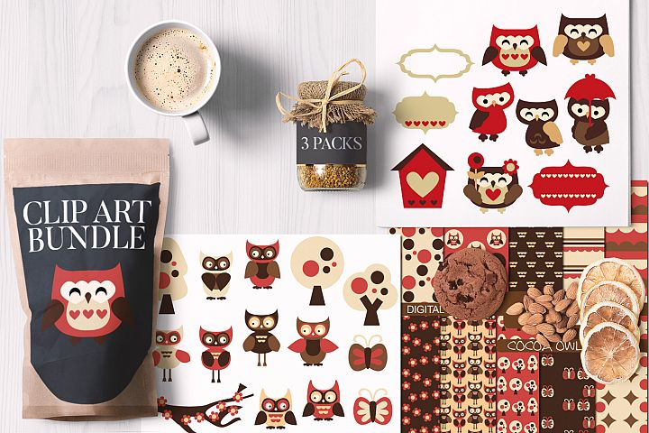 Owls Red Brown, Valentine Bundle