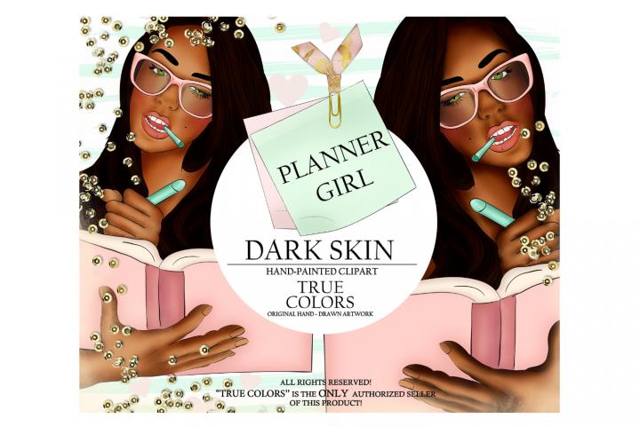 Dark Skin Planner Girl Clip Art/Planner Girl Clipart