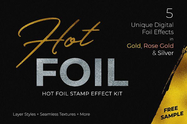 Hot Foil Stamp Effect Sample Kit for Photoshop