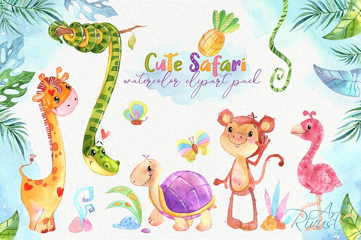 Cute safari animals watercolor clipart pack Africa animals