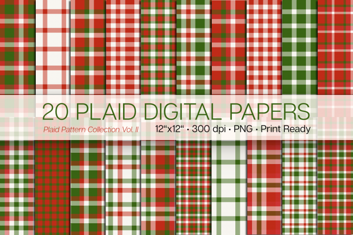 20 Christmas Plaid Digital Papers