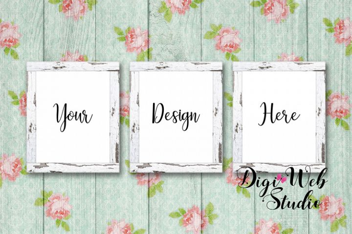 3 Wood Signs Mockup - Cozy Cottage White Distressed Frames
