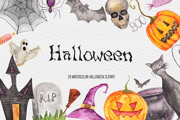 Watercolor Halloween Clipart, Pumpkin, Fall Autumn Clipart