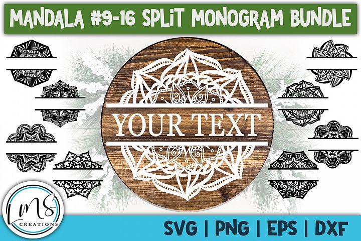 Split Mandala 9-16 Split Monogram Bundle SVG, PNG, EPS, DXF
