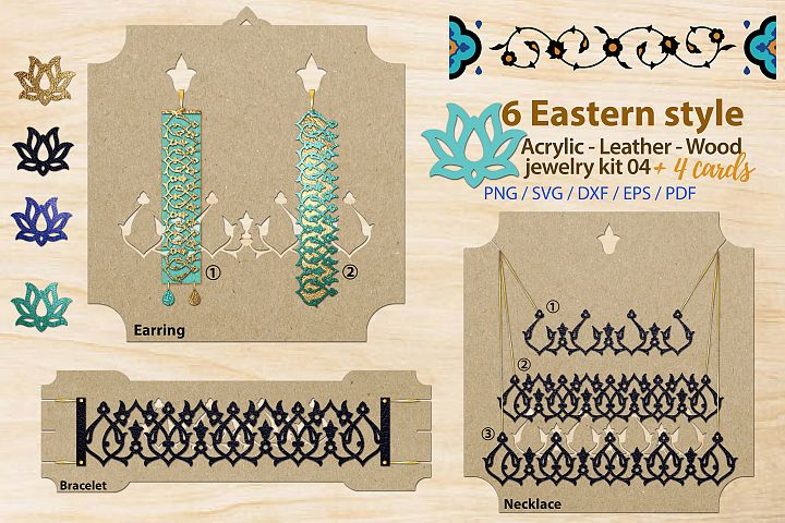 Eastern style acrylic leather wood jewelry kit 04 svg ai eps