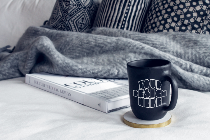 Mug Mockup, Mug Placed Beside A Book & Pillows |PSD|PNG