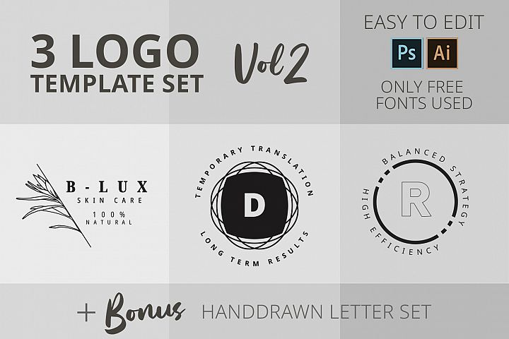 Logo template set 3 logos
