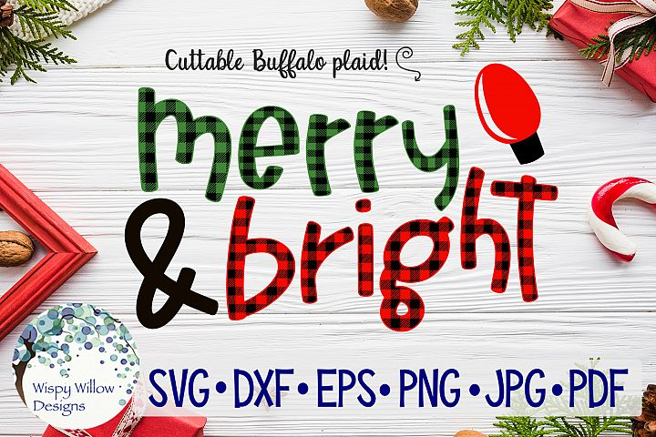 Merry And Bright | Buffalo Plaid Christmas SVG