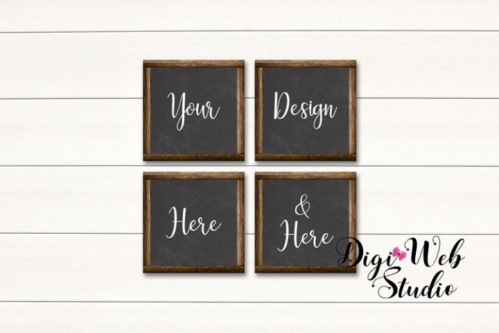4 Wood Signs Mockup - Set of 4 Wood Chalkboard Frames