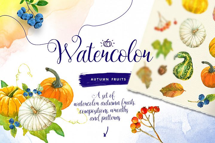 Watercolor Autumn Fruits & Elements Illustrations
