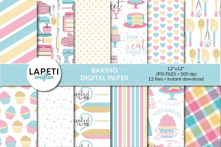Baking digital paper, scrapbook paper, baking clip art