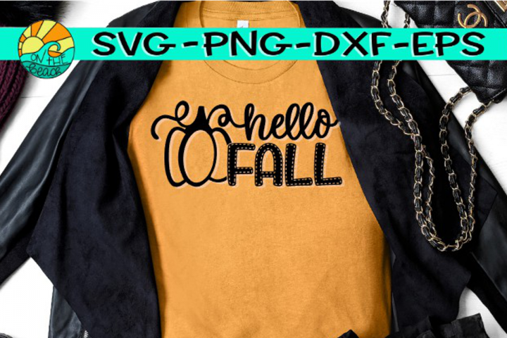 Hello Fall -Pumpkin - Stitch - SVG PNG EPS DXF