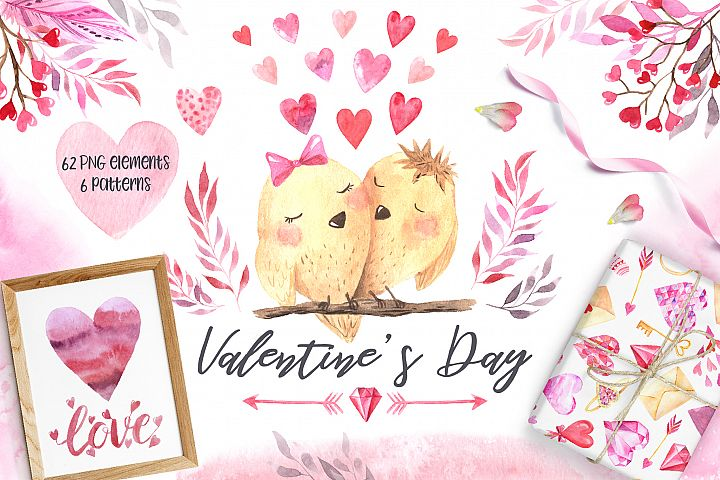 Watercolor Valentines Day Set