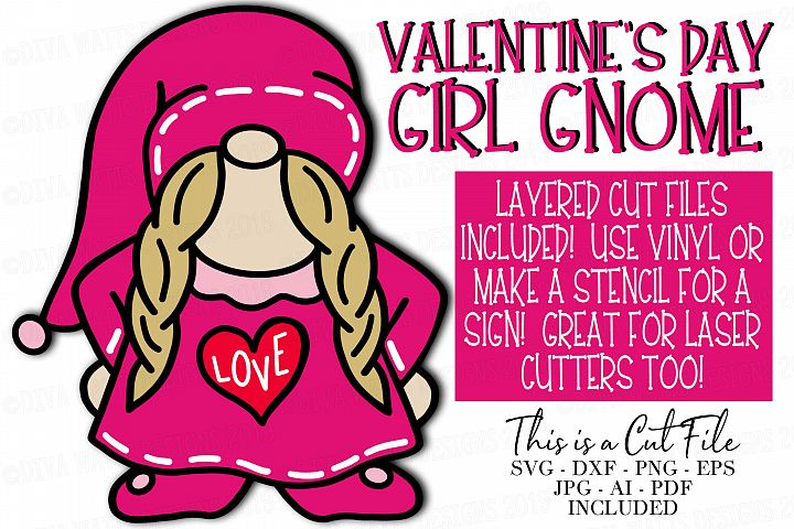 Valentines Day Girl Gnome - SVG Cutting Files and Clipart