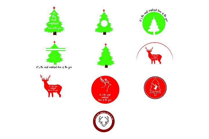 AA38 - Merry Christmas 10 Designs - SVG Bundle .