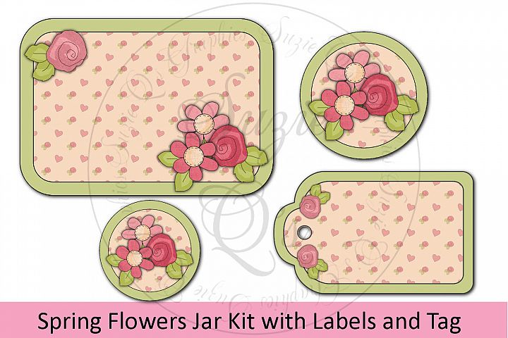 Spring Flowers Jar Labels and Tag