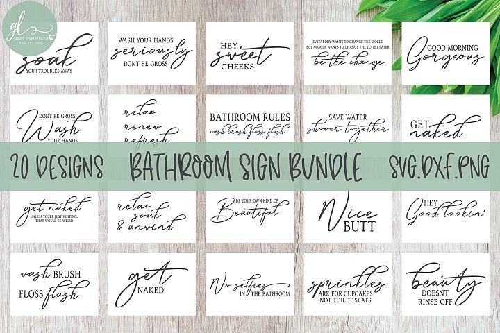 Bathroom Sign SVG Bundle - 20 Bathroom Quotes