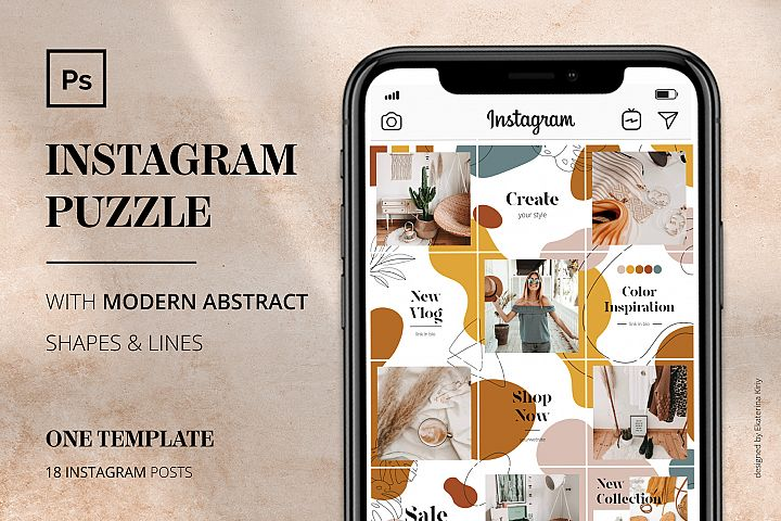 Instagram PUZZLE with shapes & lines