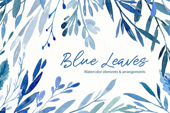 Watercolor Blue Leaves Branches Frames PNG
