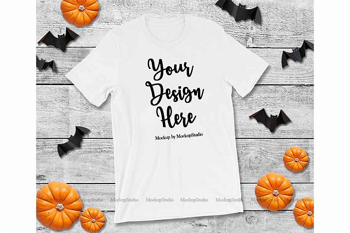 Halloween White T-Shirt Mock Up, Fall Bella Canvas 3001