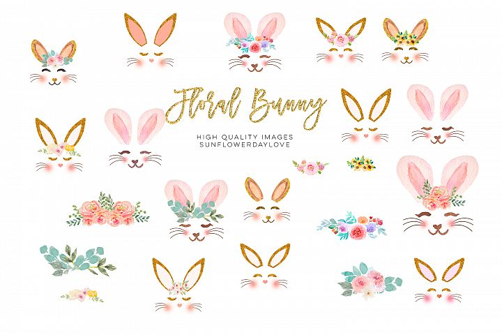 Easter watercolor Bunny clipart, Bunnies easter clipart